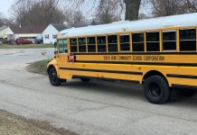 A South Bend Community school corporation school bus parked in the community to serve as a hotspot for students who don't have access to internet during COVID-19 school closures. Photo courtesy of South Bend Community School Corporation.