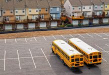 Parked school buses serve as Wi-Fi hotspots for students without Internet connection at home.
