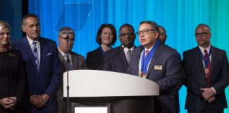 Dr. Gustavo Balderas speaks to National Conference on Education attendees after accepting the 2020 Superintendent of the Year award on Feb. 13.