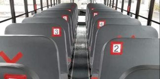 What physical distancing guidelines for students could look like on a school bus. Photo courtesy of Bob Morse.