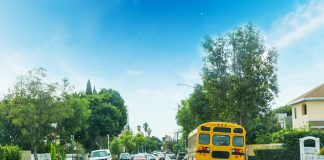 School bus in a Los Angeles neighborhood, California.