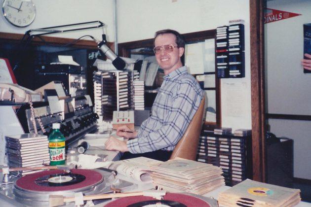 Max Christensen as a radio announcer at KJAN in Atlantic, Iowa in 1991.