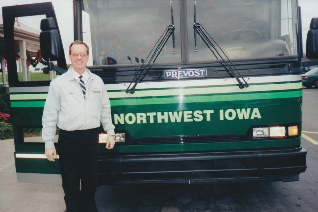 Max Christensen as a tour bus driver for Northwest Iowa Transportation in 1997.