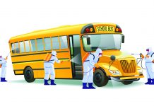 Coronavirus disinfection. Quarantine in school, empty yellow school bus without children. Hazmat team in protective suits decontamination school bus during virus outbreak. Cartoon vector illustration.