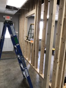 Photos of the remolding process in the transportation office at Springdale public schools in Arkansas at the early stages. (Photos courtesy of Trisha Labit.)