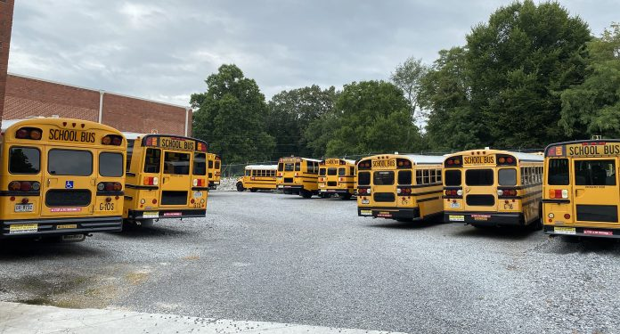 Bus yard at Greeneville City Schools in Tennessee.