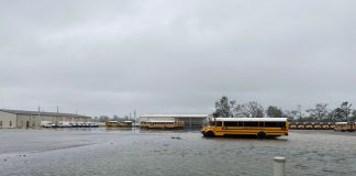 Hurricane Sally left much of the Baldwin County Public Schools bus facility flooded, after the Category 2 storm made landfall earlier on Wednesday, Sept. 16, 2020. (Photo courtesy of Anthony Pollard.)