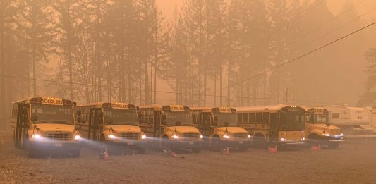 First Student locations helped evacuate community members after fires blazed through southern Oregon in early September 2020. (Photo courtesy of First Student.)