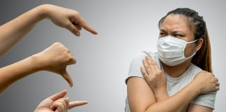 Asian woman wearing hygienic mask are bullied and hate surrounded by hands mocking her,