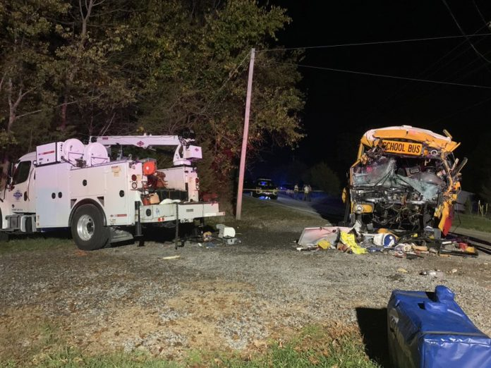 A fatal school bus crash in Meigs County, Tennessee on Oct. 27, resulted in the death of the school bus and student passenger. Eight other student passengers were injured in this crash. Twitter/@THPChattanooga.