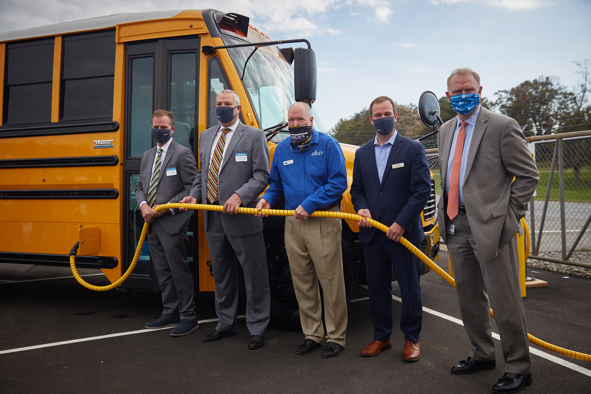 Pictured from left: Caley Edgerly, president and CEO of Thomas Built Buses; Dr. Jeff Cassell, superintendent of Waynesboro City Public Schools; Floyd Merryman, president and CEO of Sonny Merryman; Eric Reynolds, senior director of channel sales at Proterra; and Dan Weekley, vice president of energy innovation policy and implementation at Dominion Energy.