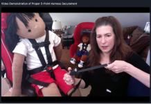 TSD Virtual presenter Denise Donaldson demonstrated proper child safety restraint system securement during a session on Monday, Nov. 9, 2020.