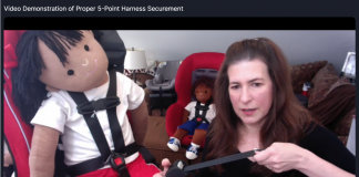 TSD Virtual presenter Denise Donaldson demonstrated proper child safety restraint system securement during a session on Monday, Nov. 9, 2020.