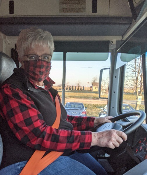 Marsha Birkholz, a 12-year veteran school bus driver for Forrestville Valley CUSD 221 in Illinois is getting into the holiday spirit this year.