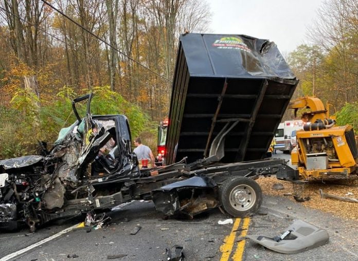 The aftermath of the Oct 21, 2020, crash between a tree service truck, a school us and another vehicle. Photo courtesy of New Windsor Police Department Facebook page.