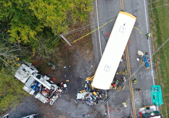 Aerial view of the final resting positions of the service truck and school bus involved in the fatal Oct. 27, 2020, crash. (Photo credit: Tennessee Highway Patrol)