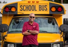 Charles Brown, a longtime school bus driver in Atlanta, was celebrated by his coworkers last month upon his retirement. (Image courtesy of Atlanta Public Schools)