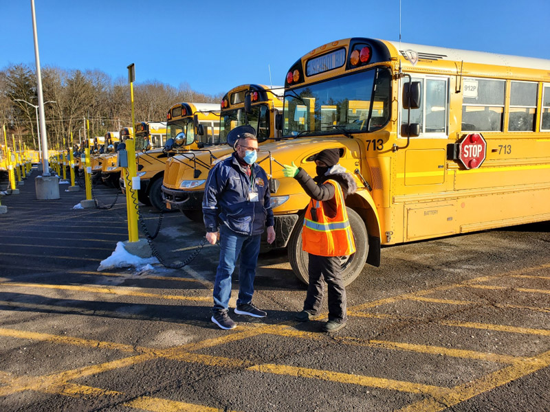 Alfred Karam, the director of transportation for Shenehedowa Central Schools in New York, speaks with driver trainer Alfred Karam, the director of transportation for Shenendehowa Central Schools in New York, speaks with driver trainer Tracey-Ann Gort.