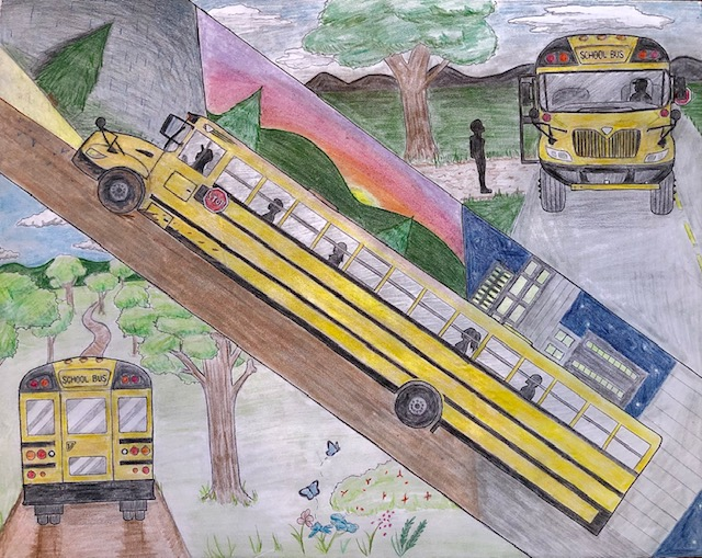 """""""A Bus's Adventurous Spirit"""" in pencil, colored pencils & marker by Jacqueline Daley"""