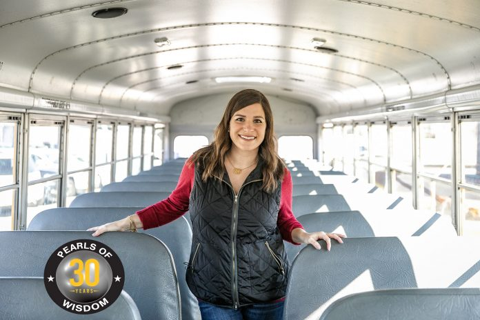 Emily Clark makes the connection between the school bus and the classroom as a substitute driver for Clarksville-Montgomery County School System in Tennessee.