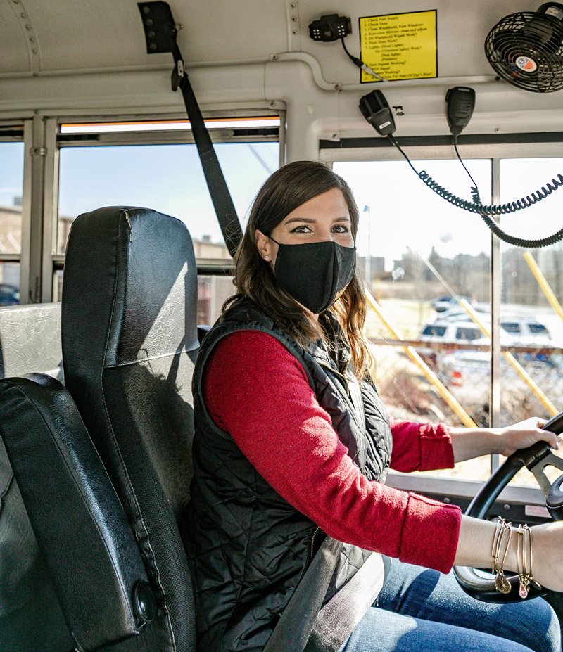 Clark made the after-school transition from principal's office to behind the wheel to help with the district's bus driver shortage.