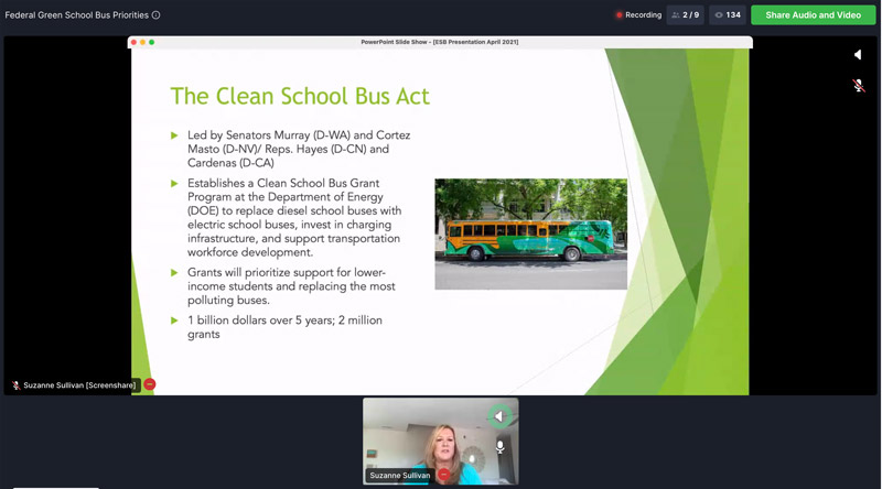 Suzanne Sullivan speaks during a virtual Green Bus Summit session on federal electric school bus priorities on Tuesday, April 20, 2020.
