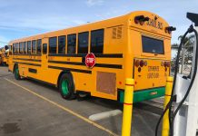Electric school bus operated by Ocean View School District in Oxnard, California,