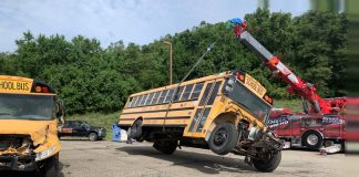 Inspired by a real-life school bus crash, Buckeye Local School District in Rayland, Ohio, held a training event with first responders on July 10, 2021. (Photo courtesy of Scott Celestin.)