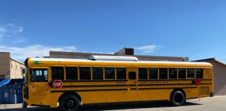 Cartwright School District 83, located in Phoenix is the first district in Arizona to have an 84-passenger electric school bus. (Photo courtesy of Sarah Hernández.)