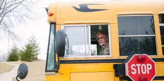 Dave Egleston, who retired last school year from West Des Moines Community Schools in Iowa after 13 years as a bus driver, gave back to his district with a generous donation of $20,000 for retrofitting the transportation break room. (Photo courtesy of WDMCS.)