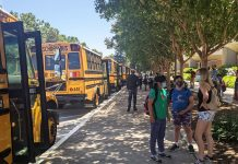 Students at San Jose Unified School District preparing to board the school bus. The district starts the 2021-2022 year on Aug. 18. (Photo courtesy of Corrin Reynolds.)