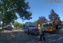 Photo taken on from Sept. 24, 2021, of the scene where school bus driver Richard Lenhart was stabbed to death while on board the bus. (Photo from Pasco Police Facebook Page.)