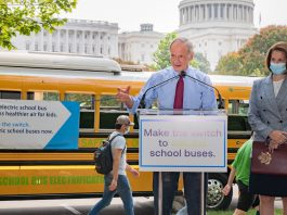 Sen. Tom Carper, D-Del., (left) speaks alongside Sen. Catherine Cortez Masto, D-Nev., at a Sept. 14, 2021 news conference to advocate for additional funding for zero-emission school buses on Capitol Hill. (Photo courtesy of the American Lung Association Twitter.)