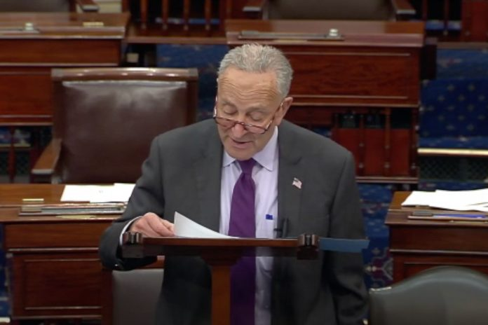 Senate Majority Leader Chuck Schumer reads S.R. 363 to recognize September as School Bus Safety Month on Tuesday, Sept. 14, 2021.