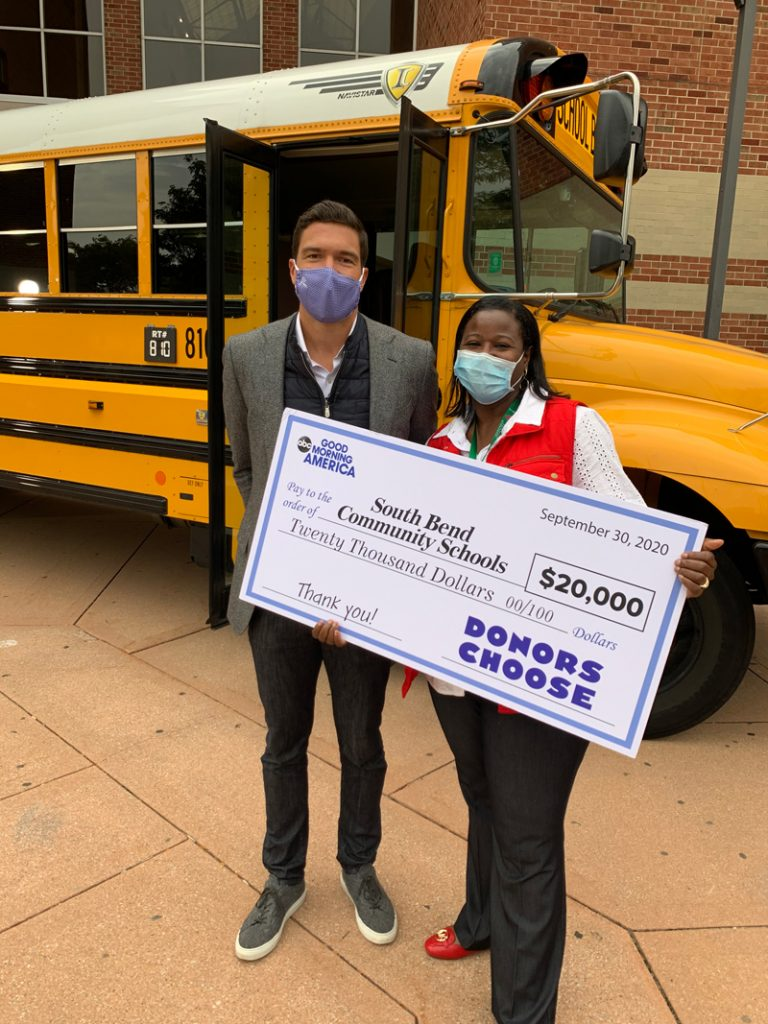 """In September 2020, South Bend was one of five school districts in the country that received hotspot gifts from ABC's """"Good Morning America"""" and T-Mobile, to reach a total of 5,000 households in the community. Good Morning America surprised South Bend Schools and Director of Transportation LaToya Kna with a check for $20,000. South Bend was also recognized for its school bus Wi-Fi program."""
