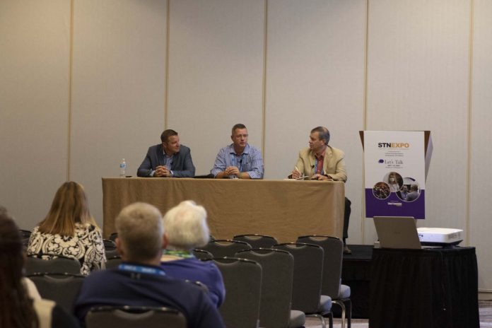 Panelists discuss ROI of school bus technology of Oct. 3, 2021 at STN Expo Indy. From left: Zach McKinney, Hamilton Southeastern Schools in Indianapolis; Nathan Oliver, Monroe County Community School Corporation in Bloomington, Indiana; and session moderator Derek Graham.
